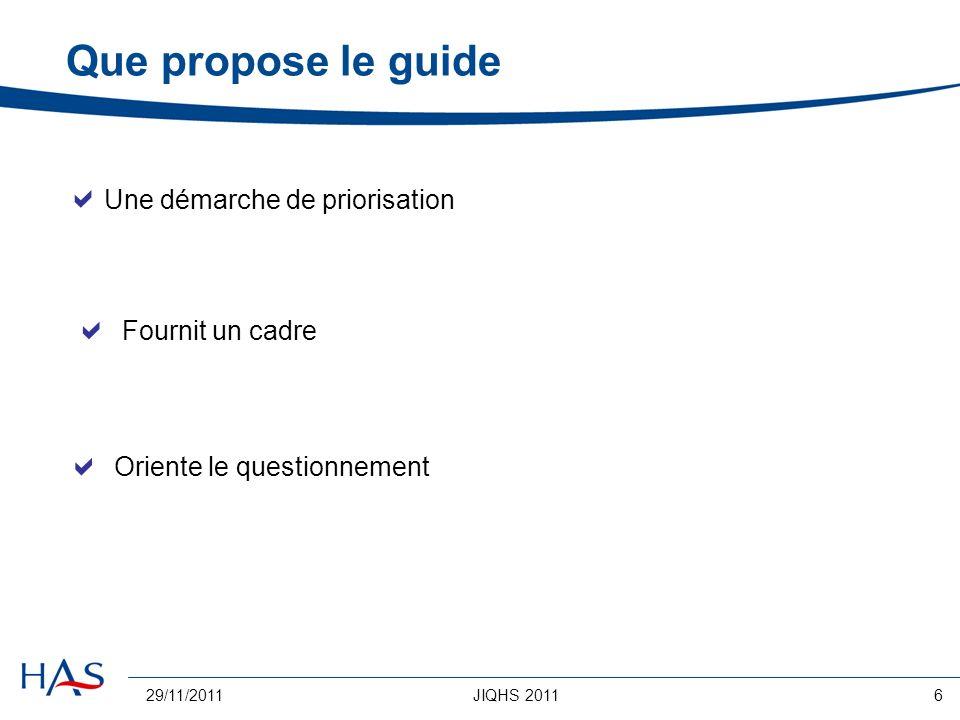29/11/2011JIQHS 20116 Que propose le guide Une démarche de priorisation Fournit un cadre Oriente le questionnement