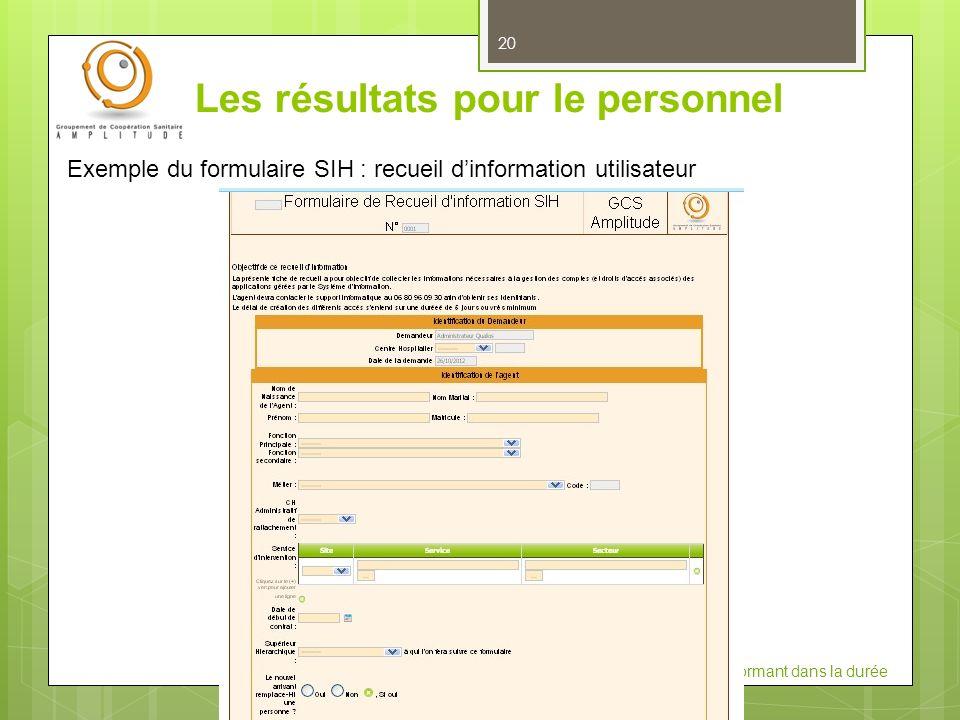 JIQHS 2012: Construire un système qualité performant dans la durée Les résultats pour le personnel 20 Exemple du formulaire SIH : recueil dinformation