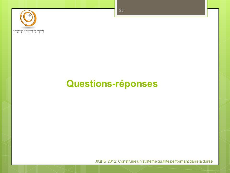 JIQHS 2012: Construire un système qualité performant dans la durée Questions-réponses 25