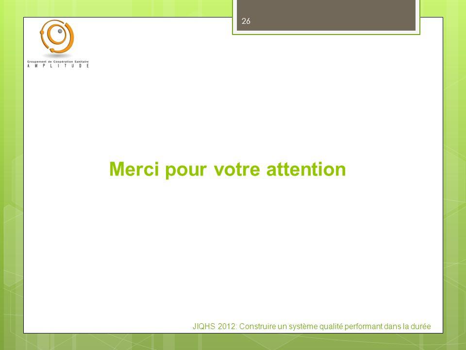 JIQHS 2012: Construire un système qualité performant dans la durée Merci pour votre attention 26