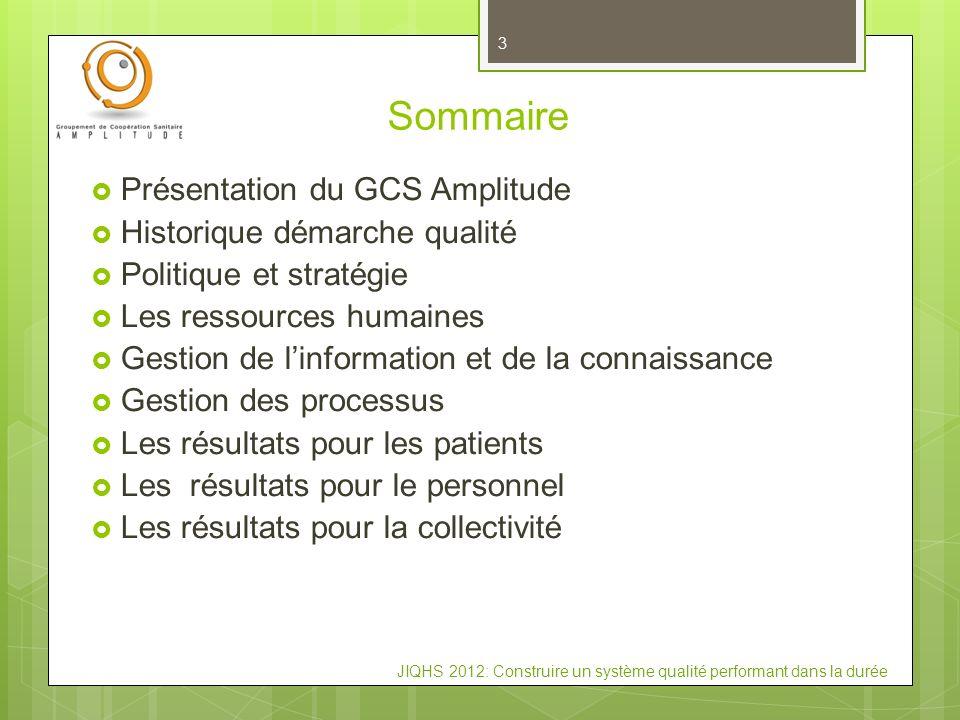 Sommaire Présentation du GCS Amplitude Historique démarche qualité Politique et stratégie Les ressources humaines Gestion de linformation et de la con