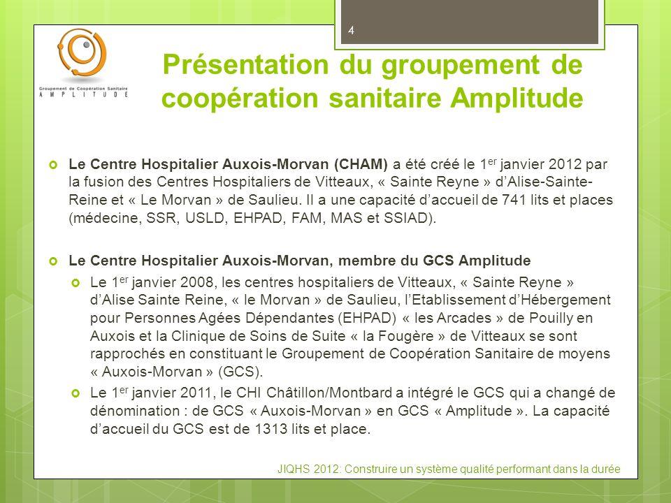 4 Présentation du groupement de coopération sanitaire Amplitude Le Centre Hospitalier Auxois-Morvan (CHAM) a été créé le 1 er janvier 2012 par la fusi