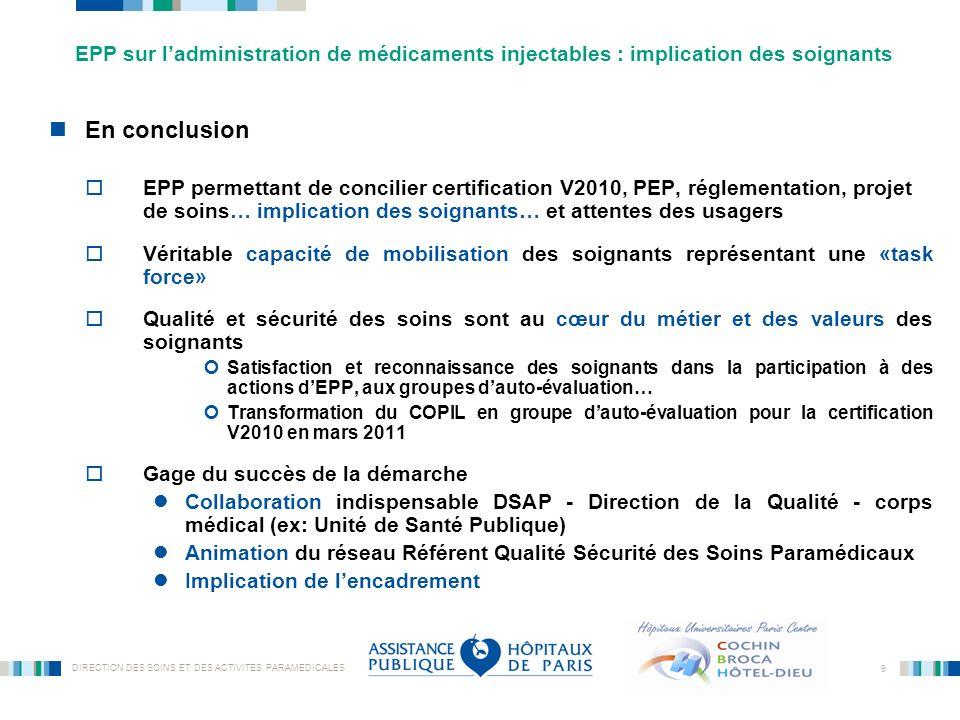 DIRECTION DES SOINS ET DES ACTIVITES PARAMEDICALES 9 En conclusion EPP permettant de concilier certification V2010, PEP, réglementation, projet de soi