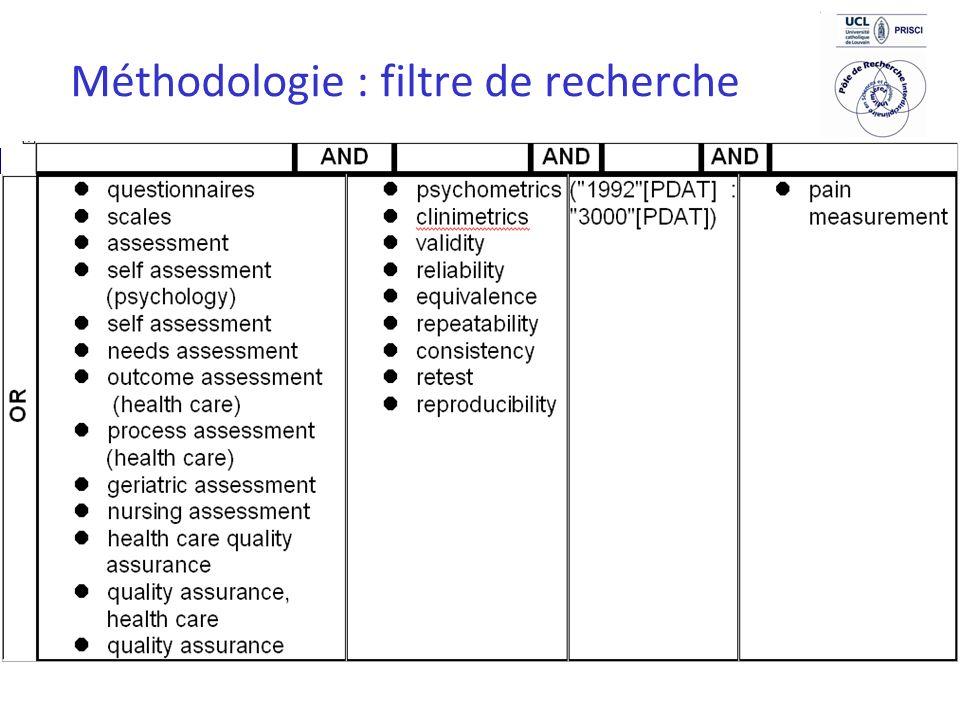 10 Méthodologie : filtre de recherche