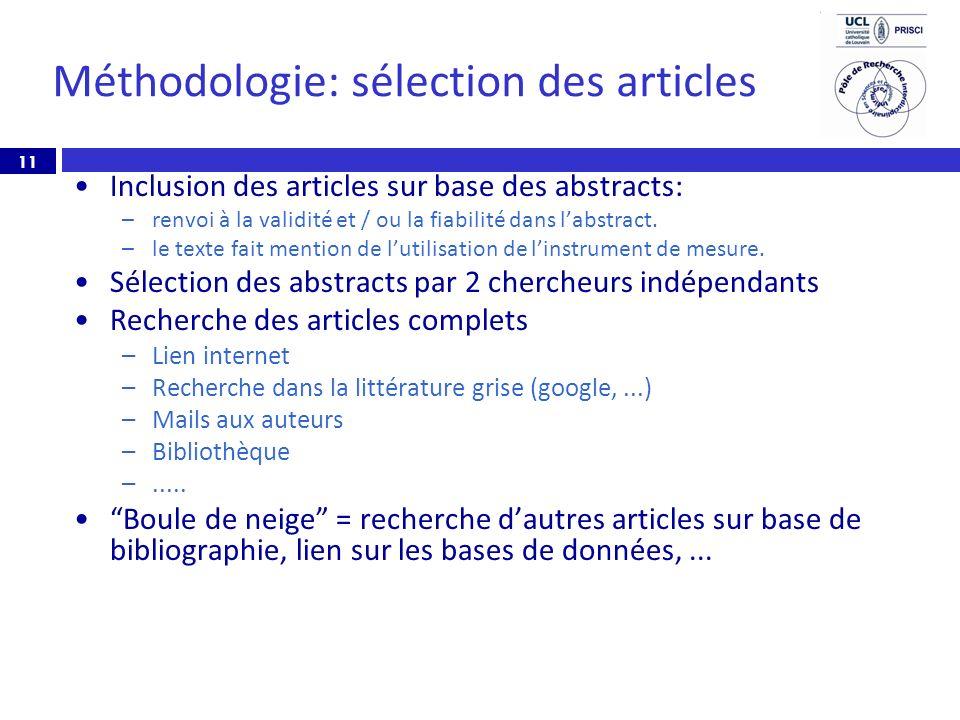 11 Méthodologie: sélection des articles Inclusion des articles sur base des abstracts: –renvoi à la validité et / ou la fiabilité dans labstract. –le