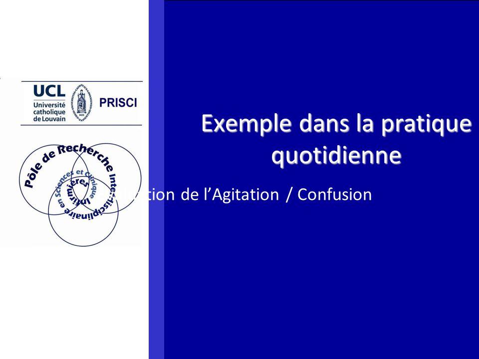 Exemple dans la pratique quotidienne Evaluation de lAgitation / Confusion