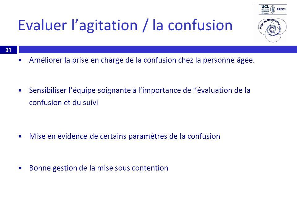 31 Evaluer lagitation / la confusion Améliorer la prise en charge de la confusion chez la personne âgée. Sensibiliser léquipe soignante à limportance