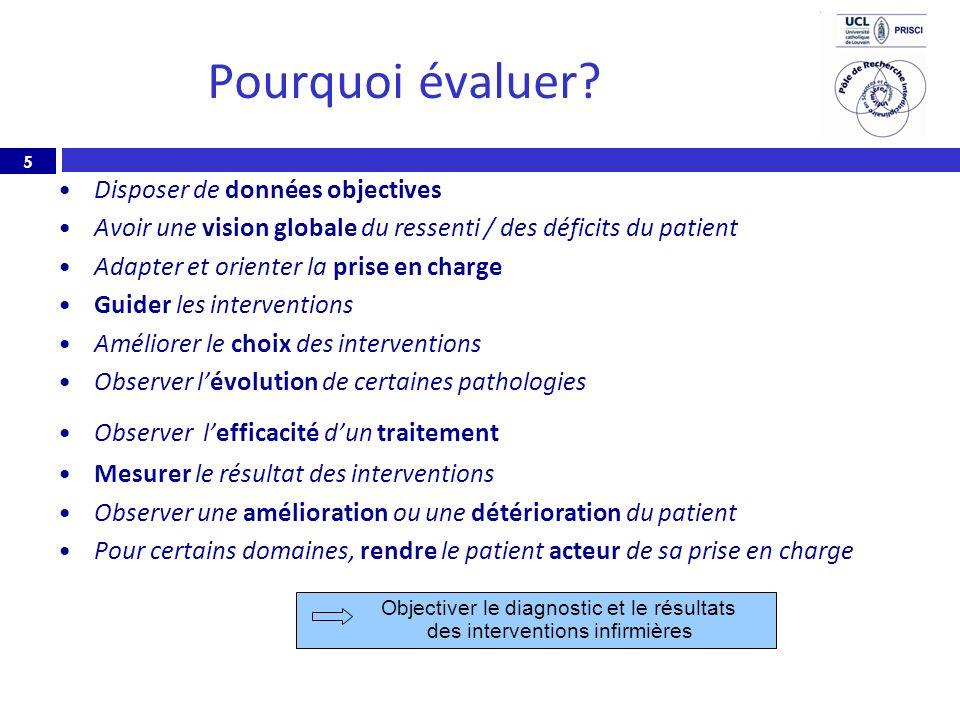 5 Pourquoi évaluer? Disposer de données objectives Avoir une vision globale du ressenti / des déficits du patient Adapter et orienter la prise en char