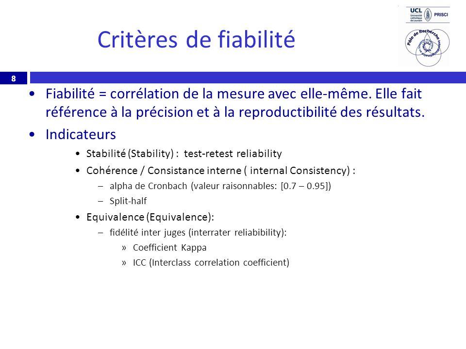 8 Critères de fiabilité Fiabilité = corrélation de la mesure avec elle-même. Elle fait référence à la précision et à la reproductibilité des résultats