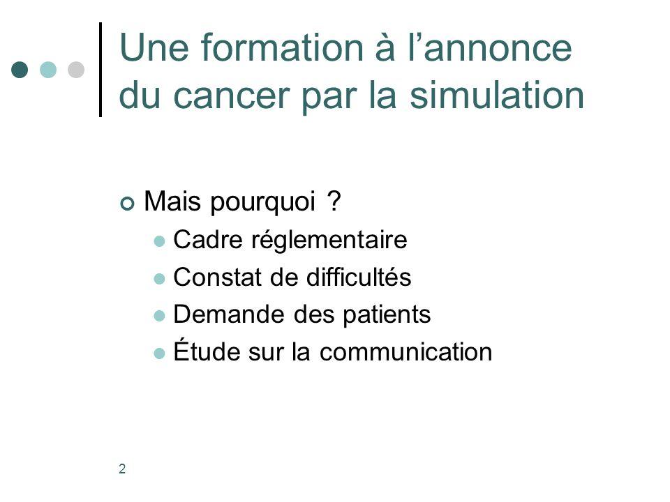 2 Une formation à lannonce du cancer par la simulation Mais pourquoi .