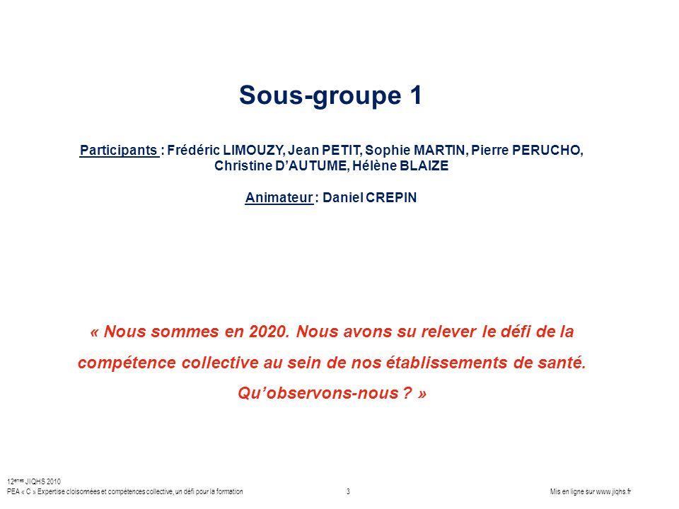 Sous-groupe 1 Participants : Frédéric LIMOUZY, Jean PETIT, Sophie MARTIN, Pierre PERUCHO, Christine DAUTUME, Hélène BLAIZE Animateur : Daniel CREPIN «