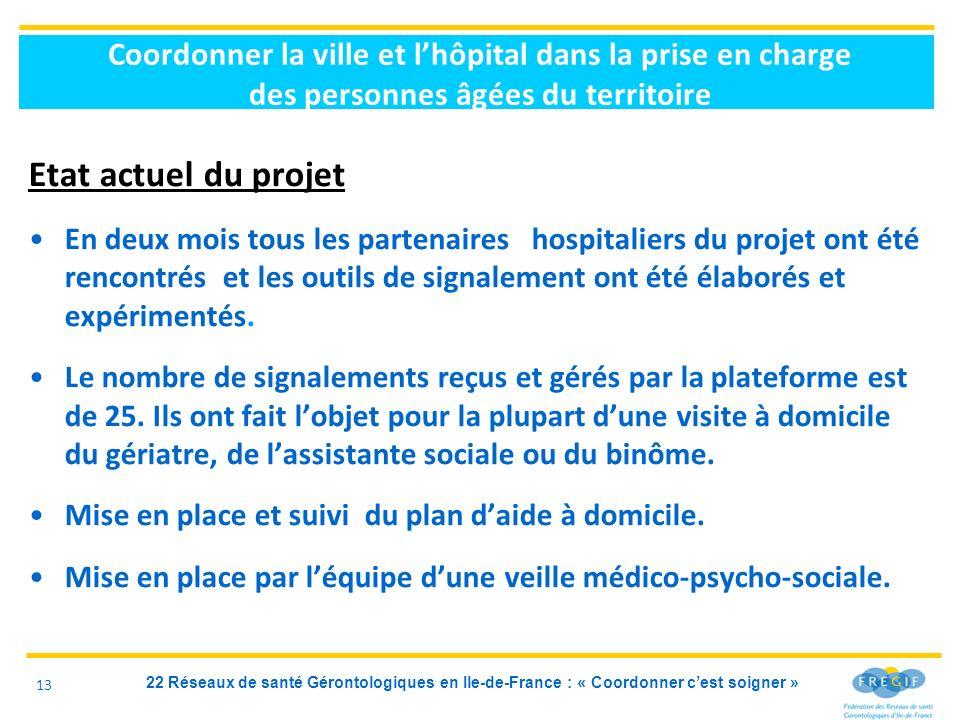 22 Réseaux de santé Gérontologiques en Ile-de-France : « Coordonner cest soigner » Coordonner la ville et lhôpital dans la prise en charge des personn