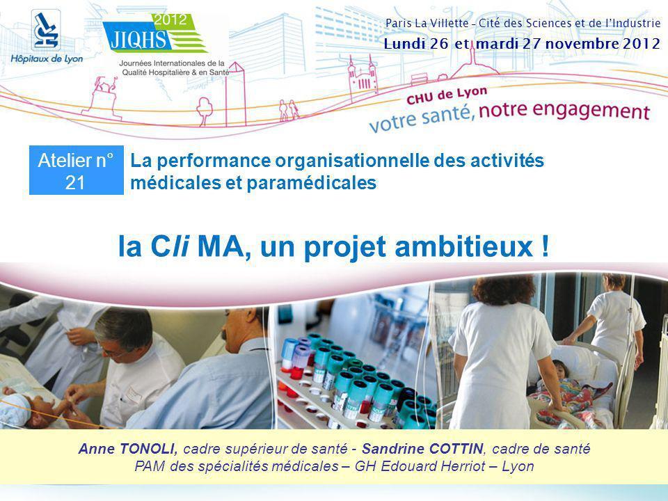 la Cli MA, un projet ambitieux ! Anne TONOLI, cadre supérieur de santé - Sandrine COTTIN, cadre de santé PAM des spécialités médicales – GH Edouard He