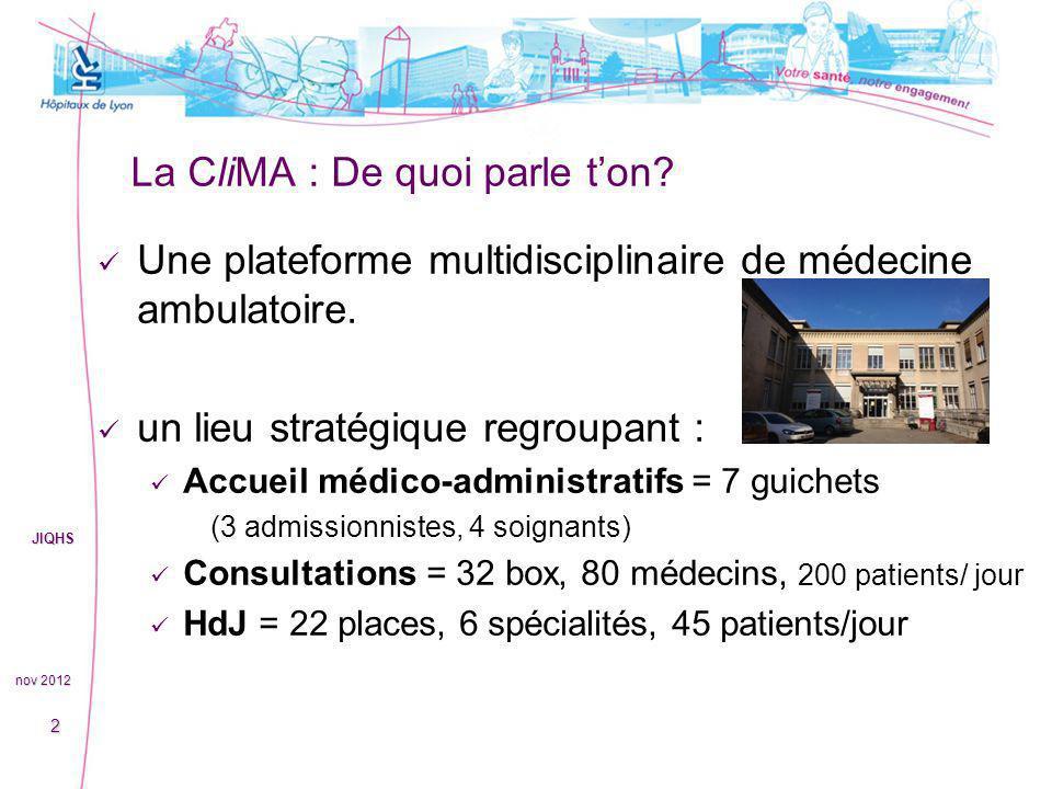 La CliMA : De quoi parle ton? Une plateforme multidisciplinaire de médecine ambulatoire. un lieu stratégique regroupant : Accueil médico-administratif