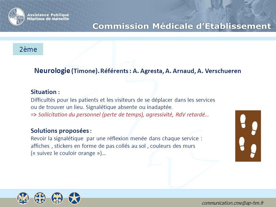 communication.cme@ap-hm.fr 2ème Neurologie (Timone). Référents : A. Agresta, A. Arnaud, A. Verschueren Situation : Difficultés pour les patients et le