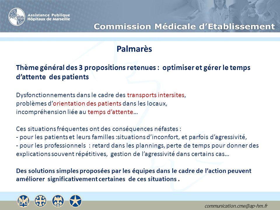 communication.cme@ap-hm.fr Palmarès Thème général des 3 propositions retenues : optimiser et gérer le temps dattente des patients Dysfonctionnements d