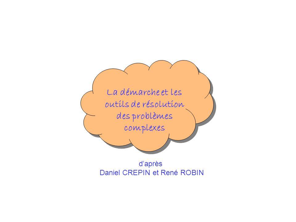 daprès Daniel CREPIN et René ROBIN La démarche et les outils de résolution des problèmes complexes