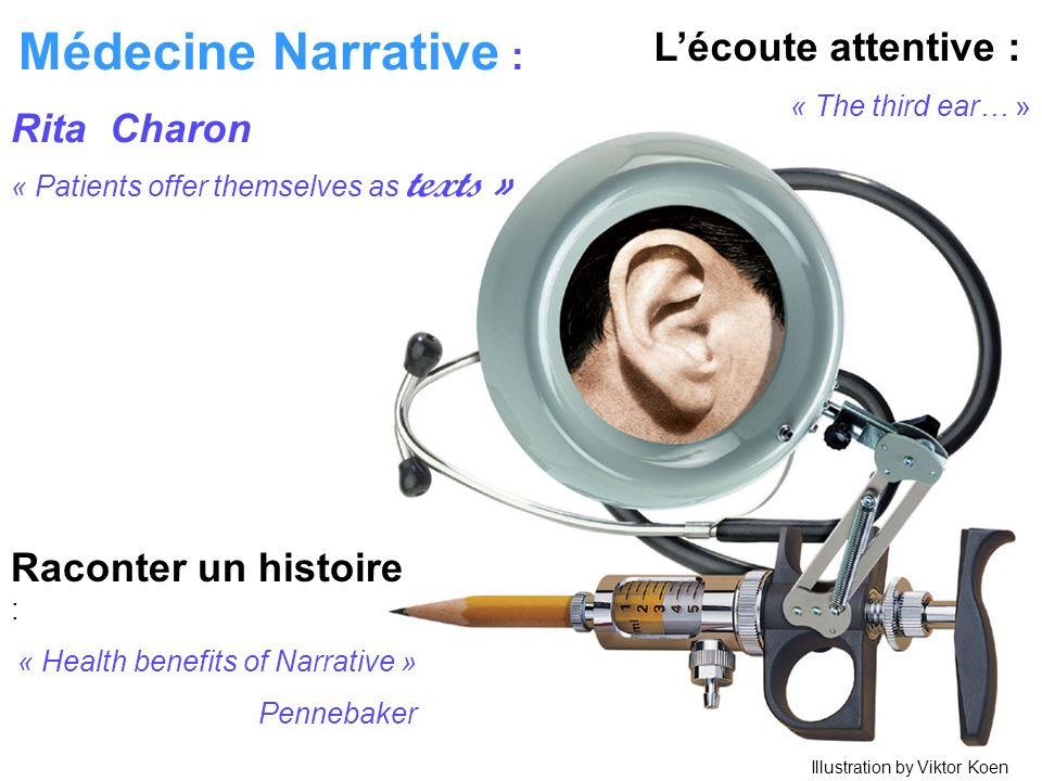 Raconter un histoire : « Health benefits of Narrative » Pennebaker Lécoute attentive : « The third ear… » Médecine Narrative : Rita Charon « Patients