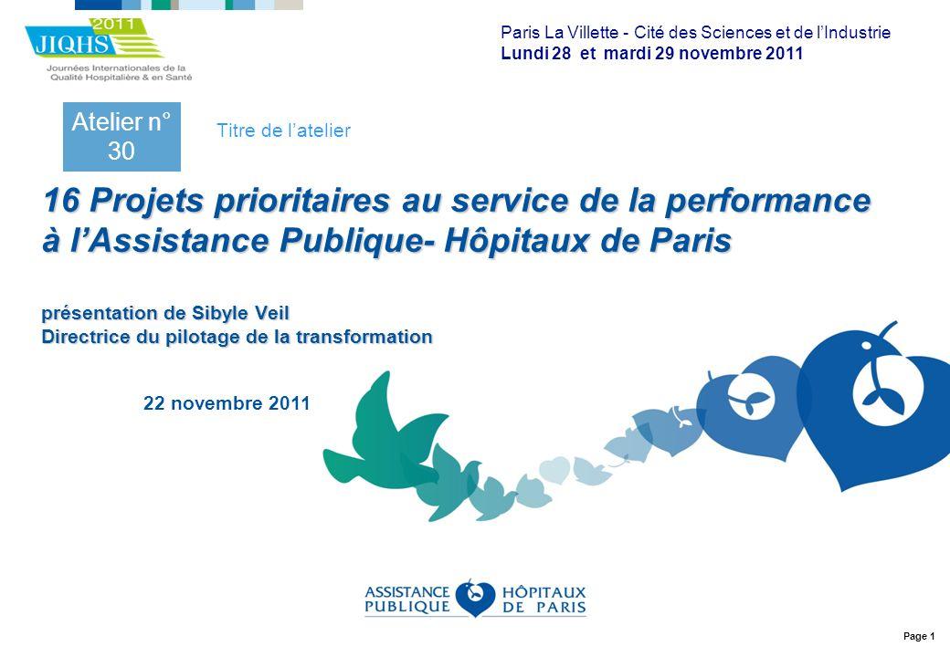 Page 1 16 Projets prioritaires au service de la performance à lAssistance Publique- Hôpitaux de Paris présentation de Sibyle Veil Directrice du pilota