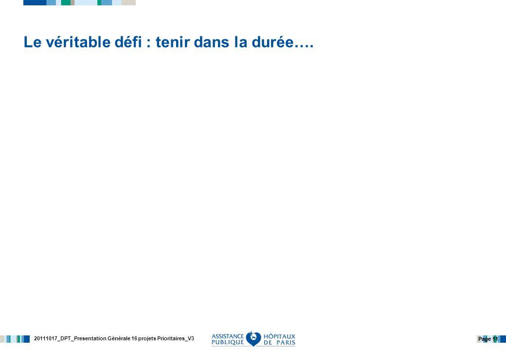 20111017_DPT_Presentation Générale 16 projets Prioritaires_V3 Page 11 Le véritable défi : tenir dans la durée….