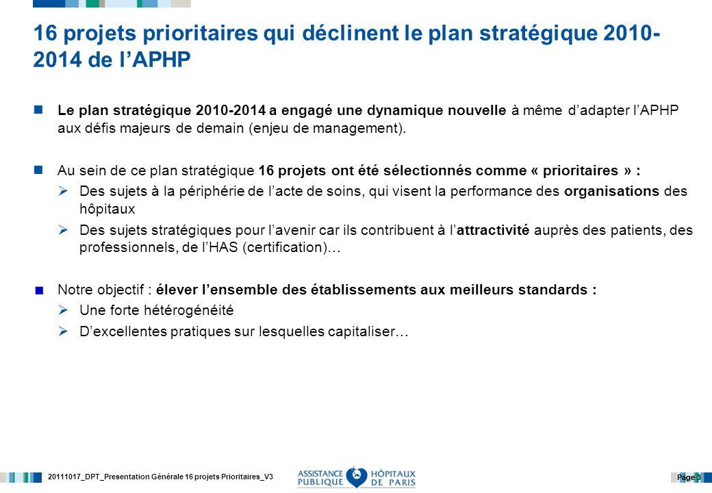 20111017_DPT_Presentation Générale 16 projets Prioritaires_V3 Page 3 16 projets prioritaires qui déclinent le plan stratégique 2010- 2014 de lAPHP Le plan stratégique 2010-2014 a engagé une dynamique nouvelle à même dadapter lAPHP aux défis majeurs de demain (enjeu de management).