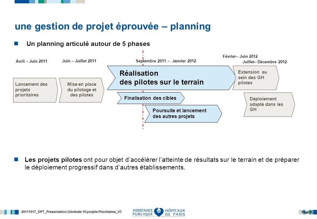 20111017_DPT_Presentation Générale 16 projets Prioritaires_V3 Page 8 Un planning articulé autour de 5 phases Les projets pilotes ont pour objet daccélérer latteinte de résultats sur le terrain et de préparer le déploiement progressif dans dautres établissements.