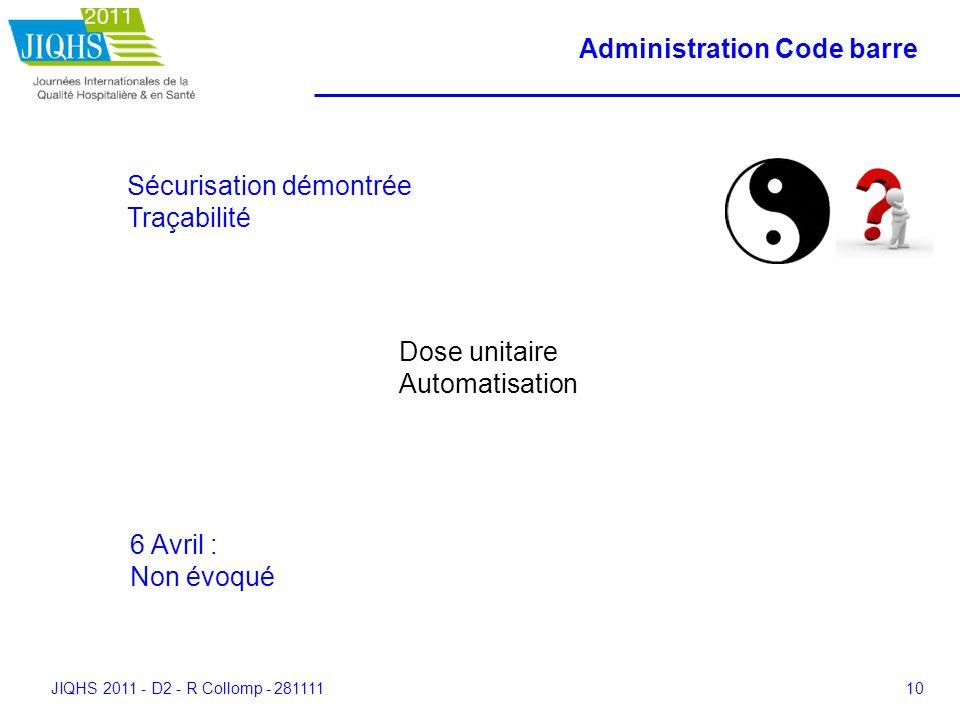 JIQHS 2011 - D2 - R Collomp - 28111110 Administration Code barre Sécurisation démontrée Traçabilité Dose unitaire Automatisation 6 Avril : Non évoqué