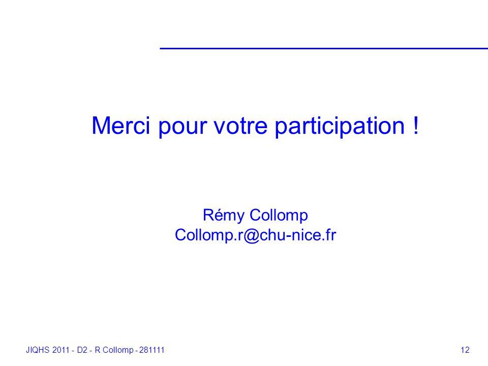 JIQHS 2011 - D2 - R Collomp - 28111112 Merci pour votre participation ! Rémy Collomp Collomp.r@chu-nice.fr