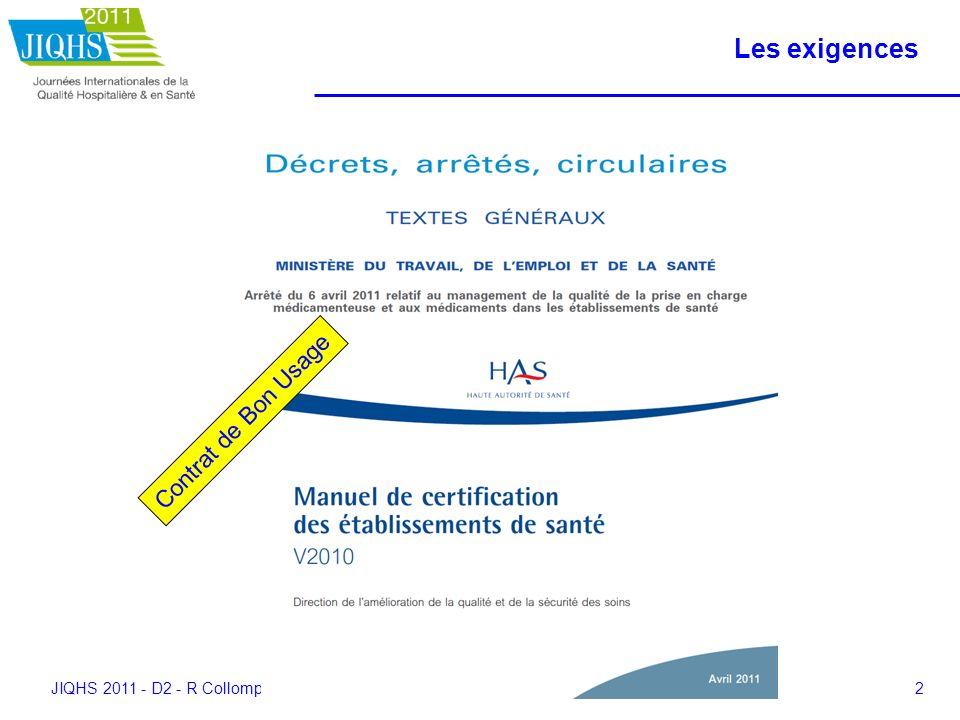 JIQHS 2011 - D2 - R Collomp - 2811113 Les outils La sécurité des patients Mettre en œuvre la gestion des risques associés aux soins en établissement de santé Des concepts à la pratique Juillet 2011 (novembre) Fin 2011