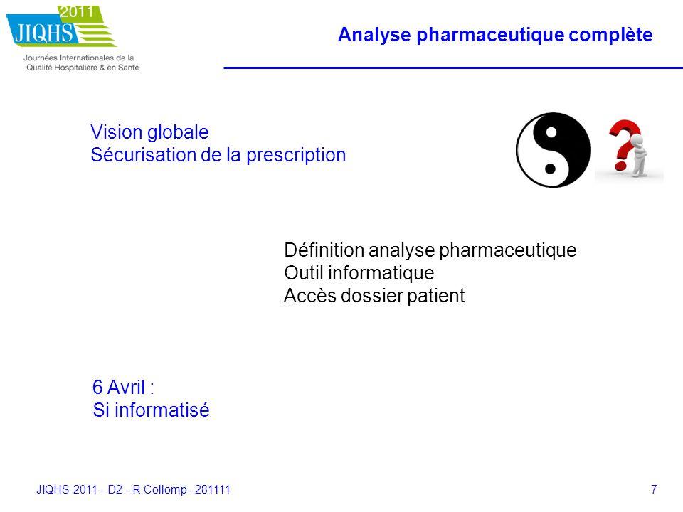 JIQHS 2011 - D2 - R Collomp - 2811117 Analyse pharmaceutique complète Vision globale Sécurisation de la prescription Définition analyse pharmaceutique