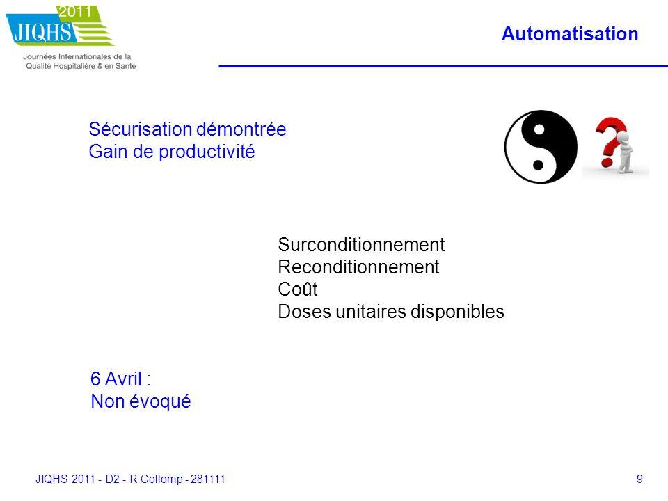 JIQHS 2011 - D2 - R Collomp - 2811119 Automatisation Sécurisation démontrée Gain de productivité Surconditionnement Reconditionnement Coût Doses unita