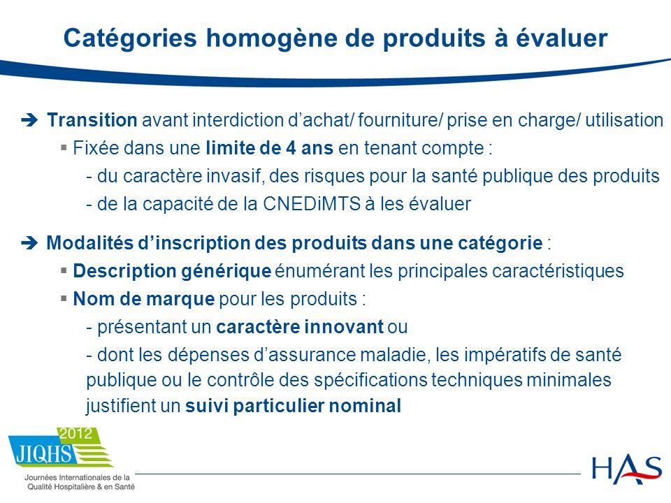 Catégories homogène de produits à évaluer Transition avant interdiction dachat/ fourniture/ prise en charge/ utilisation Fixée dans une limite de 4 an
