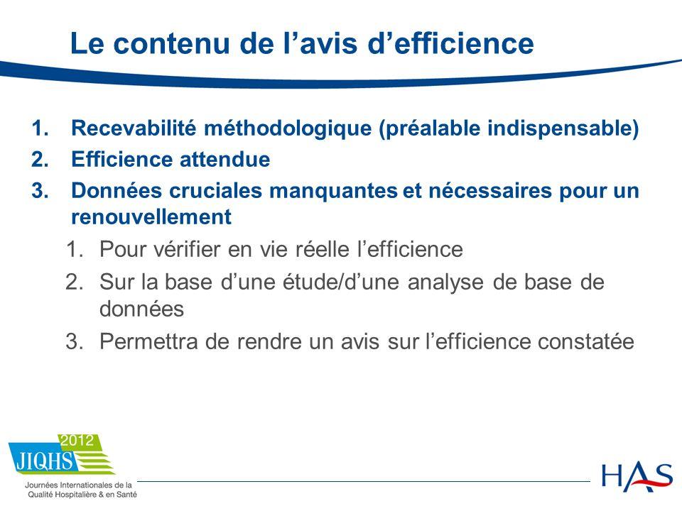 Le contenu de lavis defficience 1.Recevabilité méthodologique (préalable indispensable) 2.Efficience attendue 3.Données cruciales manquantes et nécess