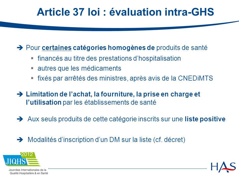 Article 37 loi : évaluation intra-GHS Pour certaines catégories homogènes de produits de santé financés au titre des prestations dhospitalisation autr
