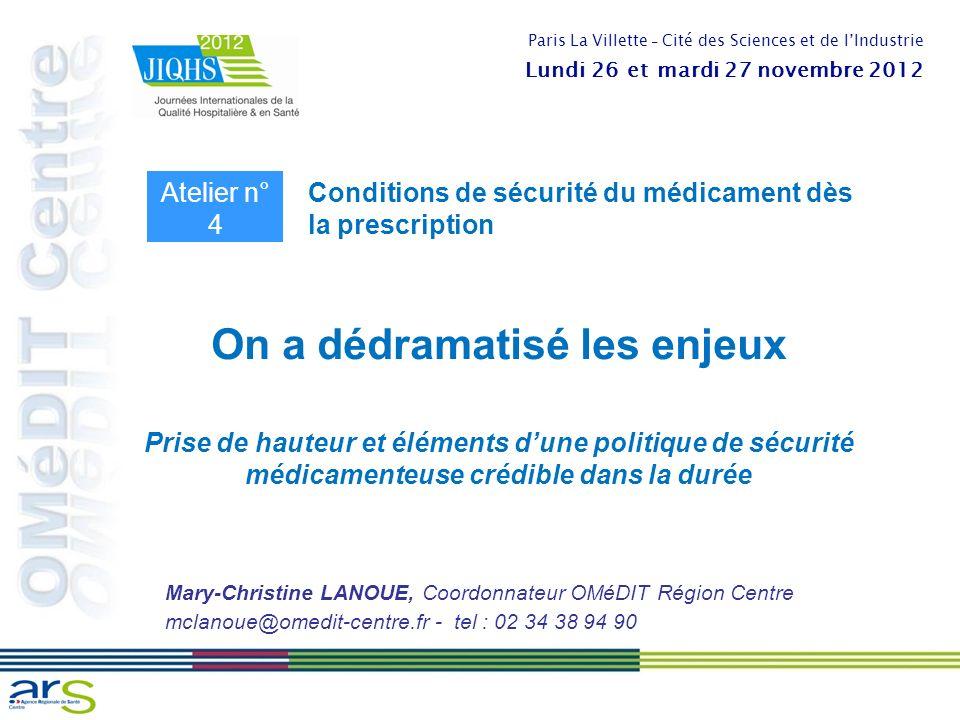On a dédramatisé les enjeux Prise de hauteur et éléments dune politique de sécurité médicamenteuse crédible dans la durée Mary-Christine LANOUE, Coord