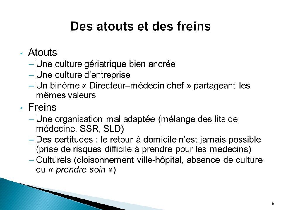 Atouts –Une culture gériatrique bien ancrée –Une culture dentreprise –Un binôme « Directeur–médecin chef » partageant les mêmes valeurs Freins –Une or