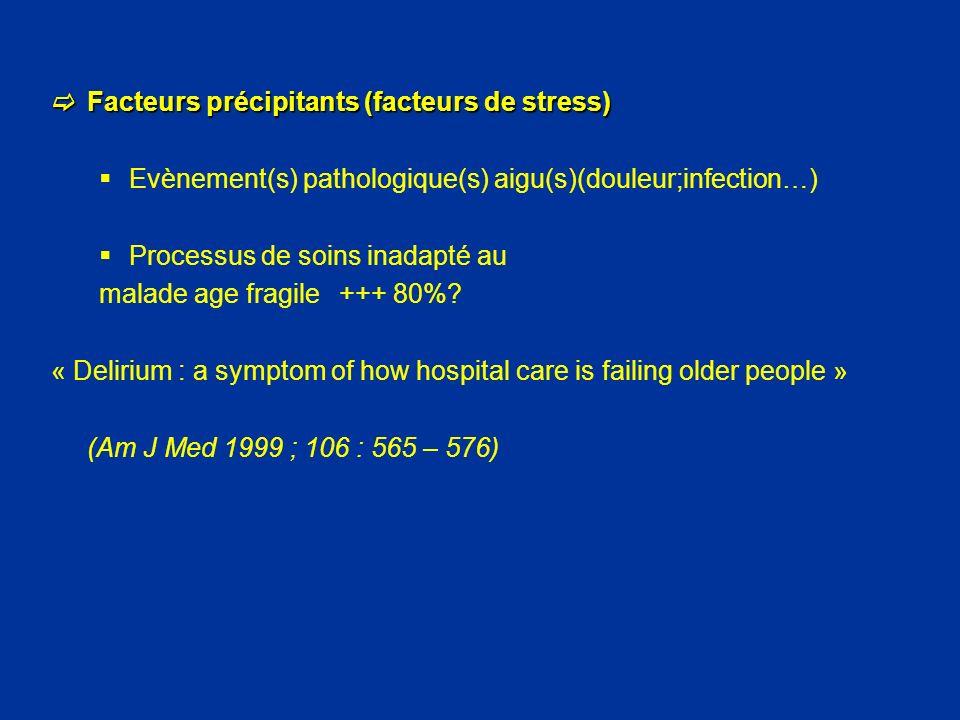 Facteurs précipitants (facteurs de stress) Facteurs précipitants (facteurs de stress) Evènement(s) pathologique(s) aigu(s)(douleur;infection…) Process