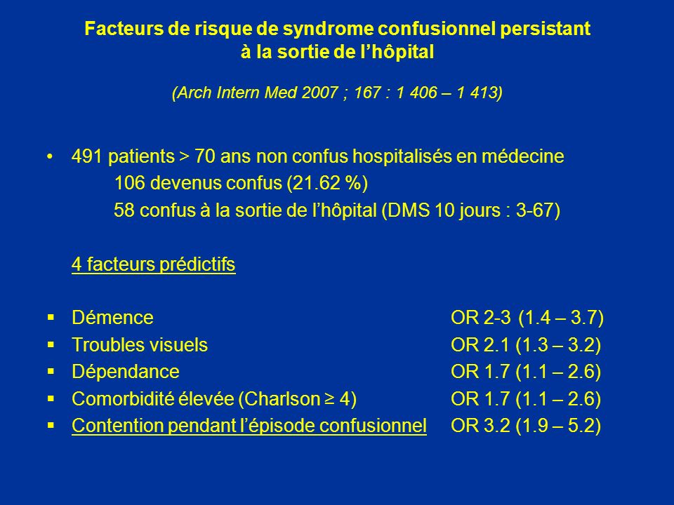 Facteurs de risque de syndrome confusionnel persistant à la sortie de lhôpital (Arch Intern Med 2007 ; 167 : 1 406 – 1 413) 491 patients > 70 ans non