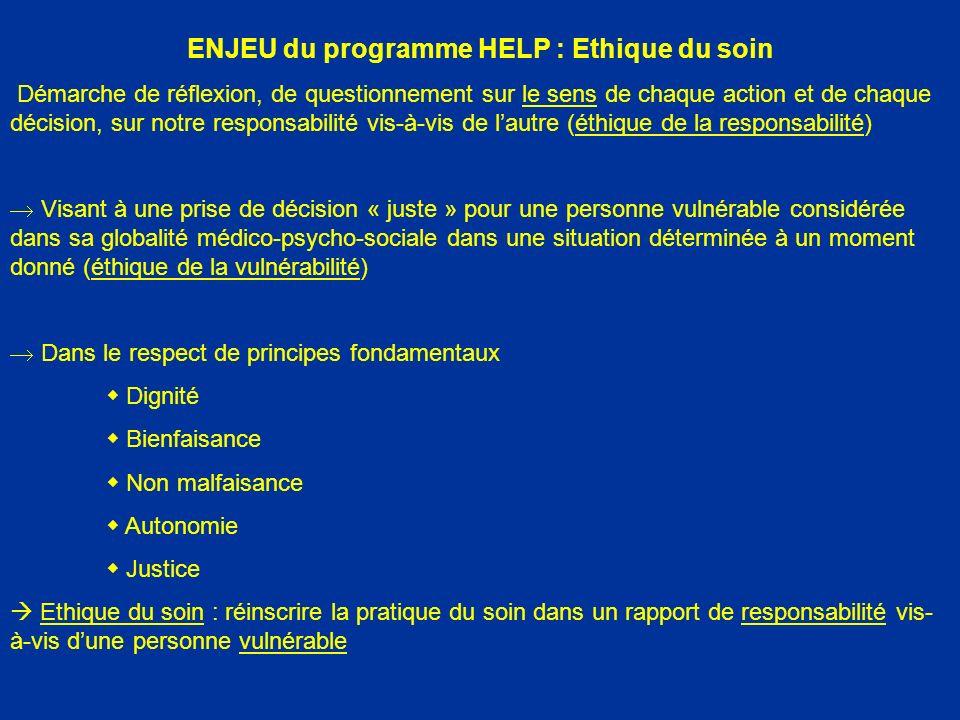 ENJEU du programme HELP : Ethique du soin Démarche de réflexion, de questionnement sur le sens de chaque action et de chaque décision, sur notre respo