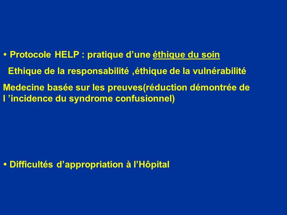 Protocole HELP : pratique dune éthique du soin Ethique de la responsabilité,éthique de la vulnérabilité Medecine basée sur les preuves(réduction démon
