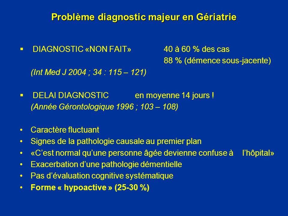 Problème diagnostic majeur en Gériatrie DIAGNOSTIC «NON FAIT» 40 à 60 % des cas 88 % (démence sous-jacente) (Int Med J 2004 ; 34 : 115 – 121) DELAI DI