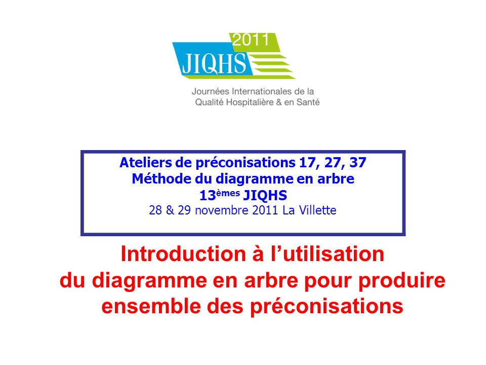 Ateliers de préconisations 17, 27, 37 Méthode du diagramme en arbre 13 è mes JIQHS 28 & 29 novembre 2011 La Villette Introduction à lutilisation du di