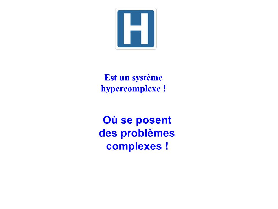 Est un système hypercomplexe ! Où se posent des problèmes complexes !