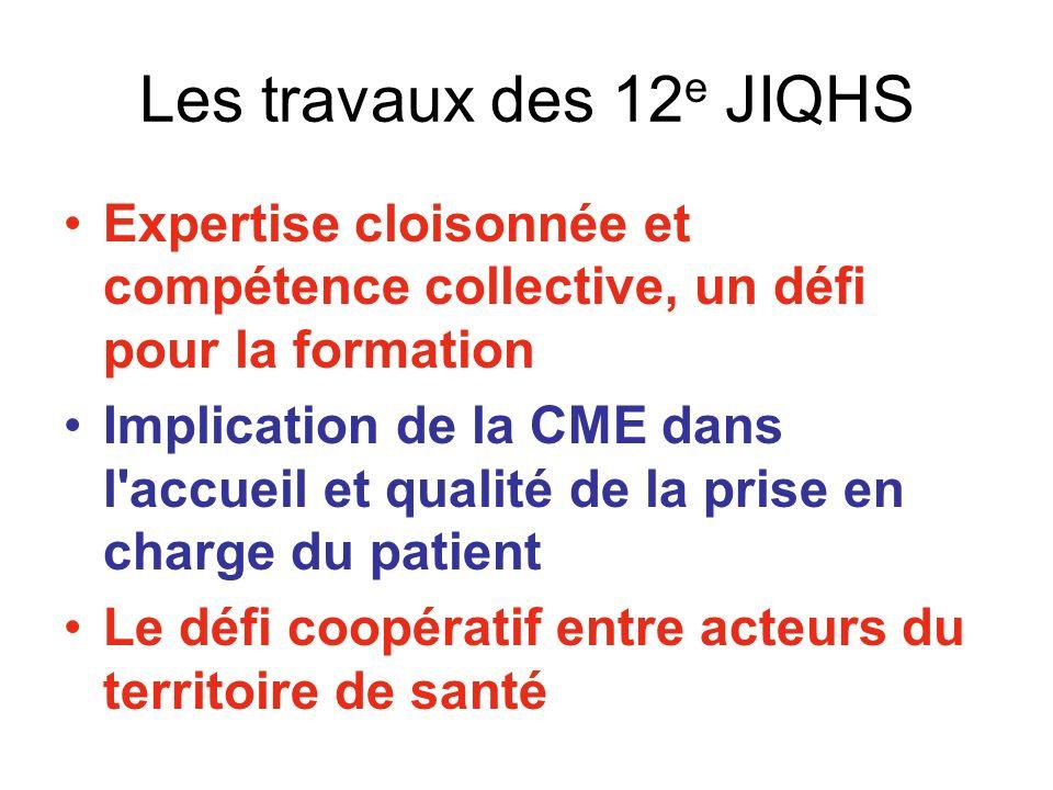 Les travaux des 12 e JIQHS Expertise cloisonnée et compétence collective, un défi pour la formation Implication de la CME dans l accueil et qualité de la prise en charge du patient Le défi coopératif entre acteurs du territoire de santé