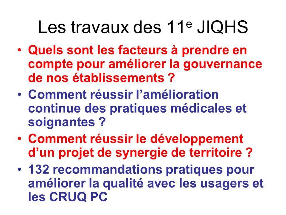 Les travaux des 11 e JIQHS Quels sont les facteurs à prendre en compte pour améliorer la gouvernance de nos établissements ? Comment réussir laméliora