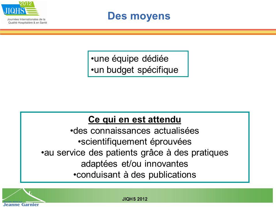 Des moyens JIQHS 2012 une équipe dédiée un budget spécifique Ce qui en est attendu des connaissances actualisées scientifiquement éprouvées au service des patients grâce à des pratiques adaptées et/ou innovantes conduisant à des publications
