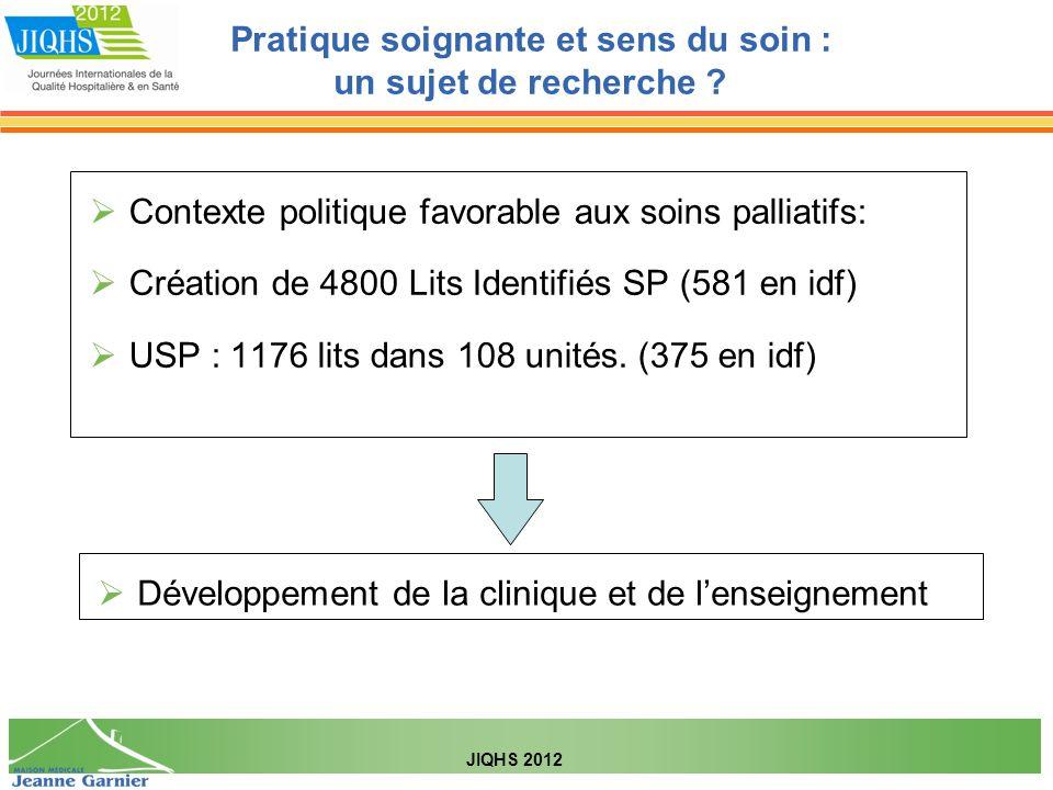 Contexte politique favorable aux soins palliatifs: Création de 4800 Lits Identifiés SP (581 en idf) USP : 1176 lits dans 108 unités. (375 en idf) Déve