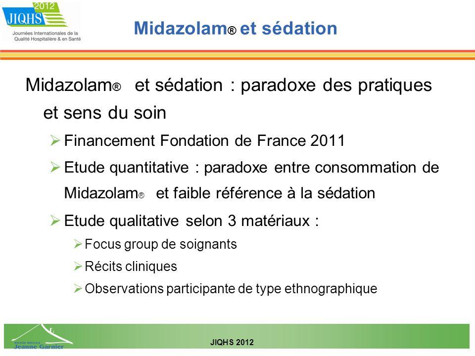 Midazolam ® et sédation : paradoxe des pratiques et sens du soin Financement Fondation de France 2011 Etude quantitative : paradoxe entre consommation