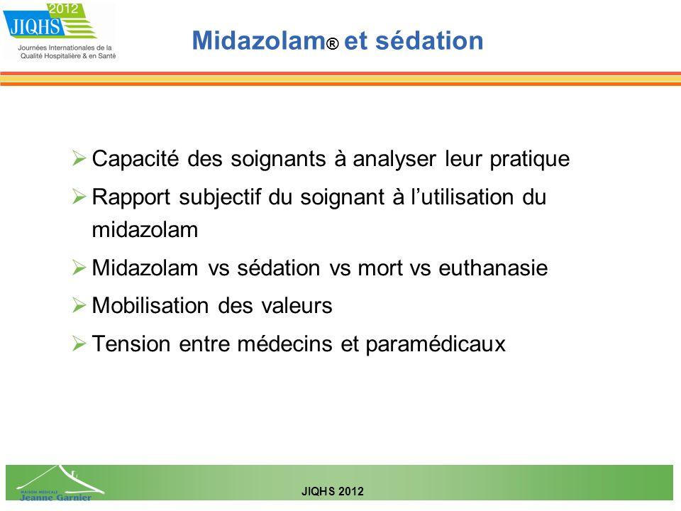 Capacité des soignants à analyser leur pratique Rapport subjectif du soignant à lutilisation du midazolam Midazolam vs sédation vs mort vs euthanasie