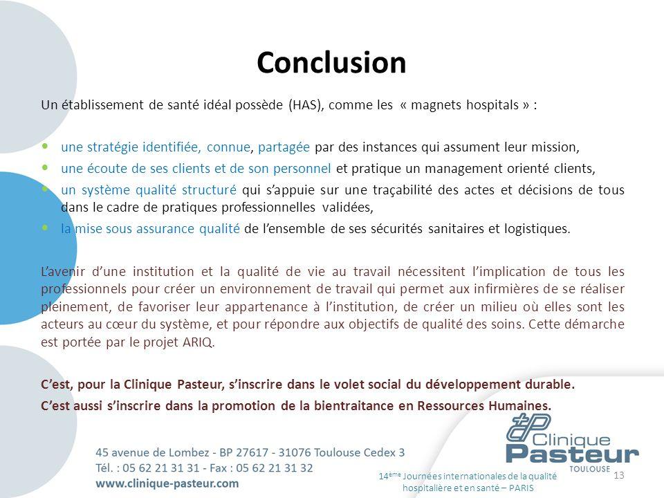 Conclusion Un établissement de santé idéal possède (HAS), comme les « magnets hospitals » : une stratégie identifiée, connue, partagée par des instanc